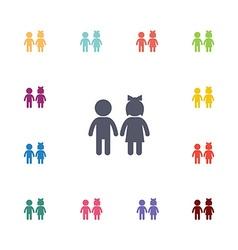 girl and boy flat icons set vector image