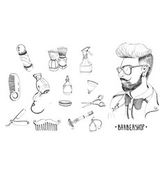 Hand drawn barbershop set collection accessories vector