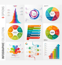 infographic collection of 6 options vector image vector image