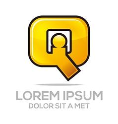 letter iq combination alphabet design icon vector image vector image