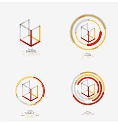 Minimal line design logo business icon block vector