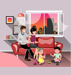 Parents with children in living room vector