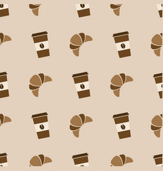 Seamless pattern with coffee and croissant vector