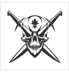 Skull and cross swords vector