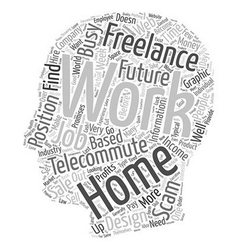 The future of work at home jobs text background vector