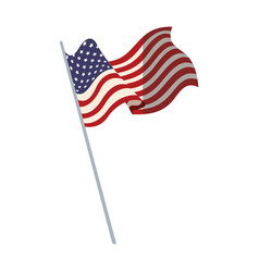 united states of america flag with pole vector image