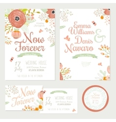Wedding romantic floral Save the Date invitations vector image vector image
