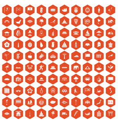 100 asian icons hexagon orange vector
