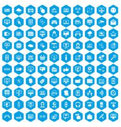 100 internet icons set blue vector