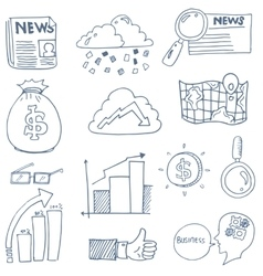 Doodle of business finance object set vector
