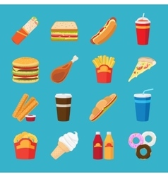 Fastfood and drink flat icons vector