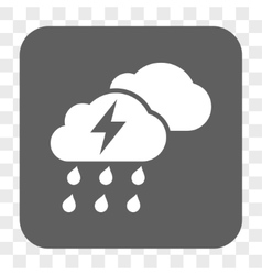 Thunderstorm clouds rounded square button vector