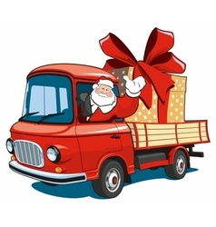 Santa claus on red truck delivers gifts vector