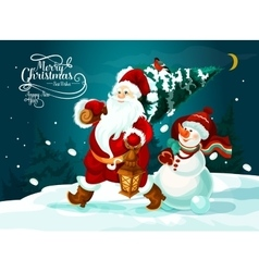 Santa and snowman with xmas tree and gifts card vector