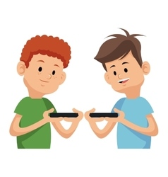 Two boy playing video game with moblie phone vector
