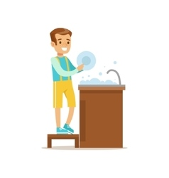 Boy Washing The Dishes Smiling Cartoon Kid vector image