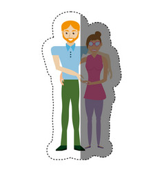couple romantic hand holding shadow vector image