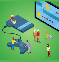Isometric people playing video games on console vector