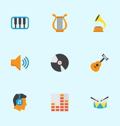Audio flat icons set collection of controlling vector