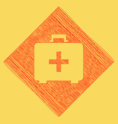 medical first aid box sign  red scribble vector image