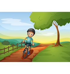 A boy going to the farm with his bike vector