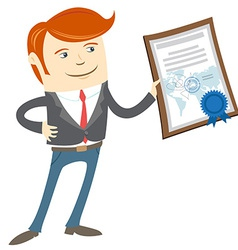 Office man showing a diploma vector