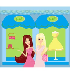 Beautiful girls shopping vector
