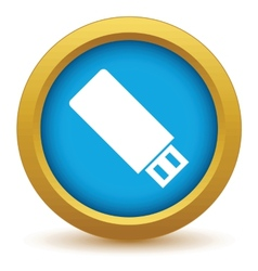 Gold usb stick icon vector