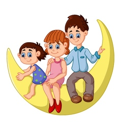 happy family sit on the moon vector image