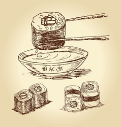 Hand drawn sushi vector