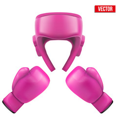 Boxing helmet and gloves self-defense vector