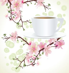 Blossoming sakura tree vector