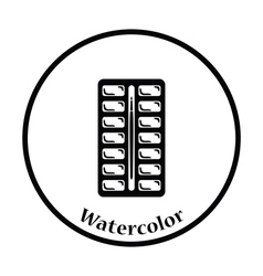 Watercolor paint-box icon vector