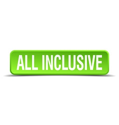 All inclusive green 3d realistic square isolated vector