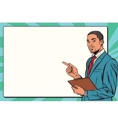 Beautiful black businessman presentation vector image vector image