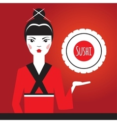 Beautiful Japanese girl in red kimono holding vector image