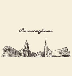birmingham skyline west england draw sketch vector image