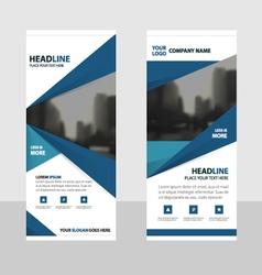 Blue roll up business brochure flyer banner design vector