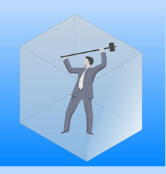 Breaking the glass cube business concept vector