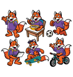 cartoon character set of cute little fox vector image vector image