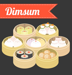 Chinese food dim sum vector