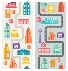 Cityscape seamless vertical banners with buildings vector image vector image