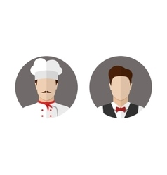 Cook and waiter icons vector image vector image