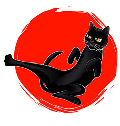 Cute karate black cat on red sun logo vector
