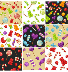 delisious sweet candies and lollipops in seamless vector image vector image