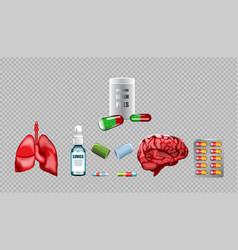 Digital red medicine lungs vector