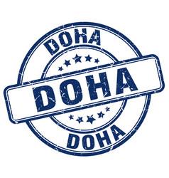 Doha blue grunge round vintage rubber stamp vector