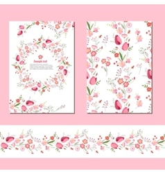Floral spring templates with cute bunches of red vector image vector image