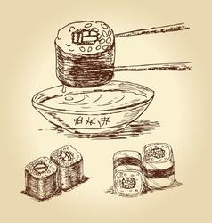 Hand drawn sushi vector