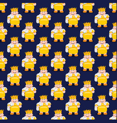 King on a dark blue background seamless pattern vector